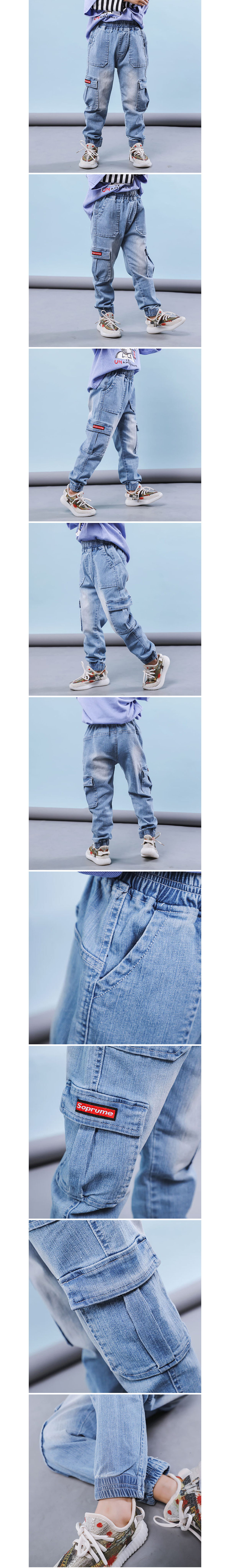 工裝側邊口袋淺色牛仔束口褲.童裝