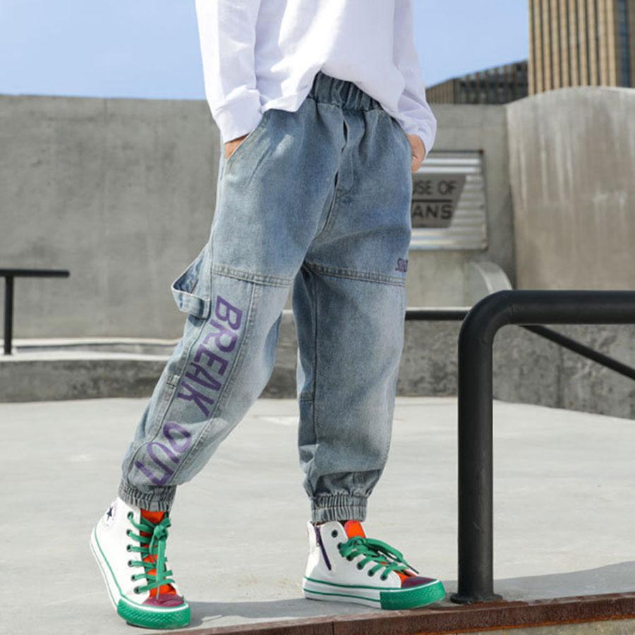 潮流英字淺色牛仔縮口褲.童裝,,,Y2010027,潮流英字淺色牛仔縮口褲.童裝,