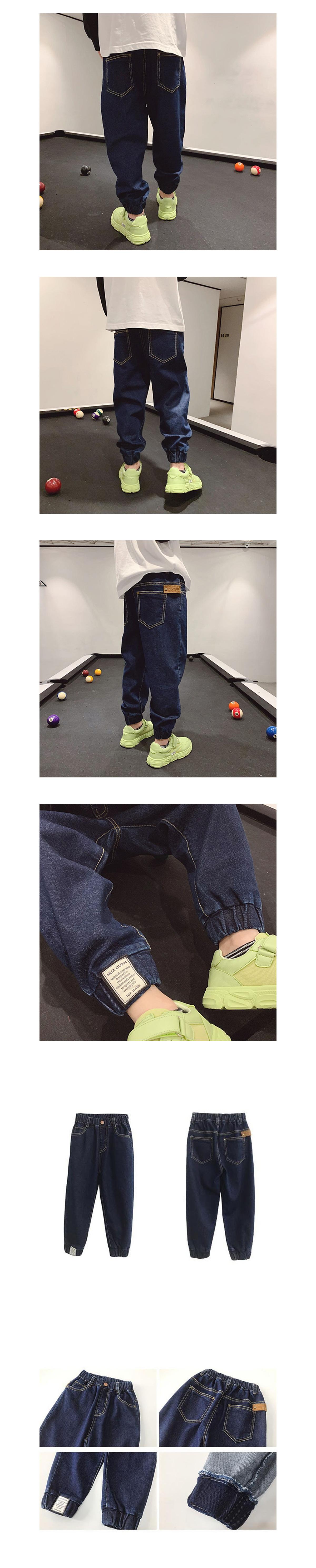 經典束腳布標牛仔褲.童裝