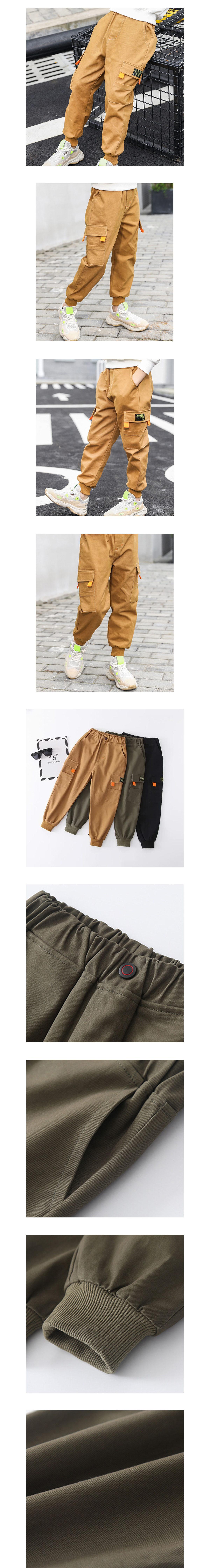工裝口袋撞色螢光橘縮口長褲.童裝