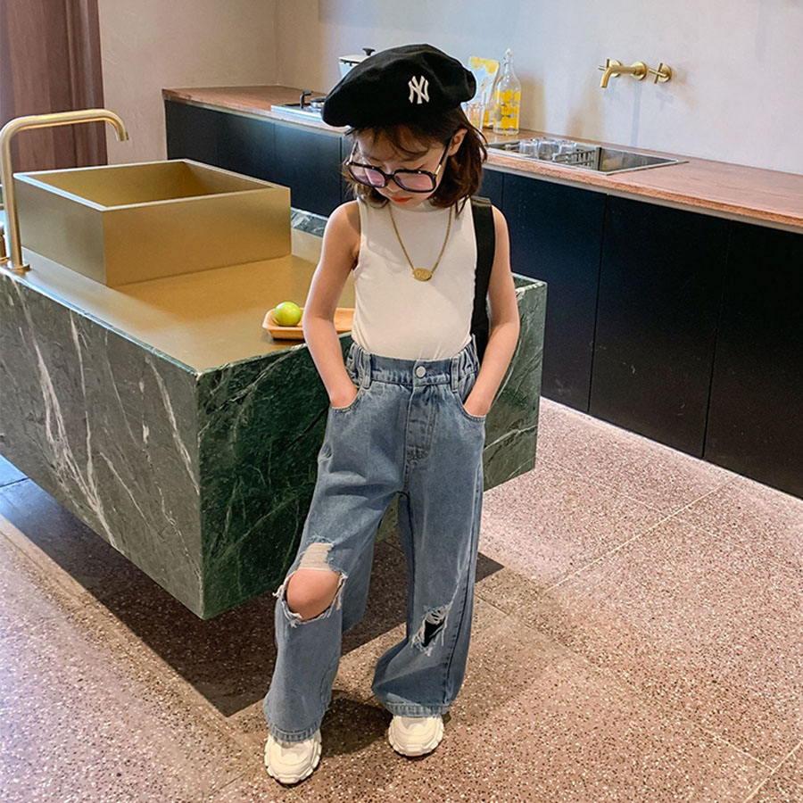 兒童刷破高腰寬鬆牛仔褲.童裝