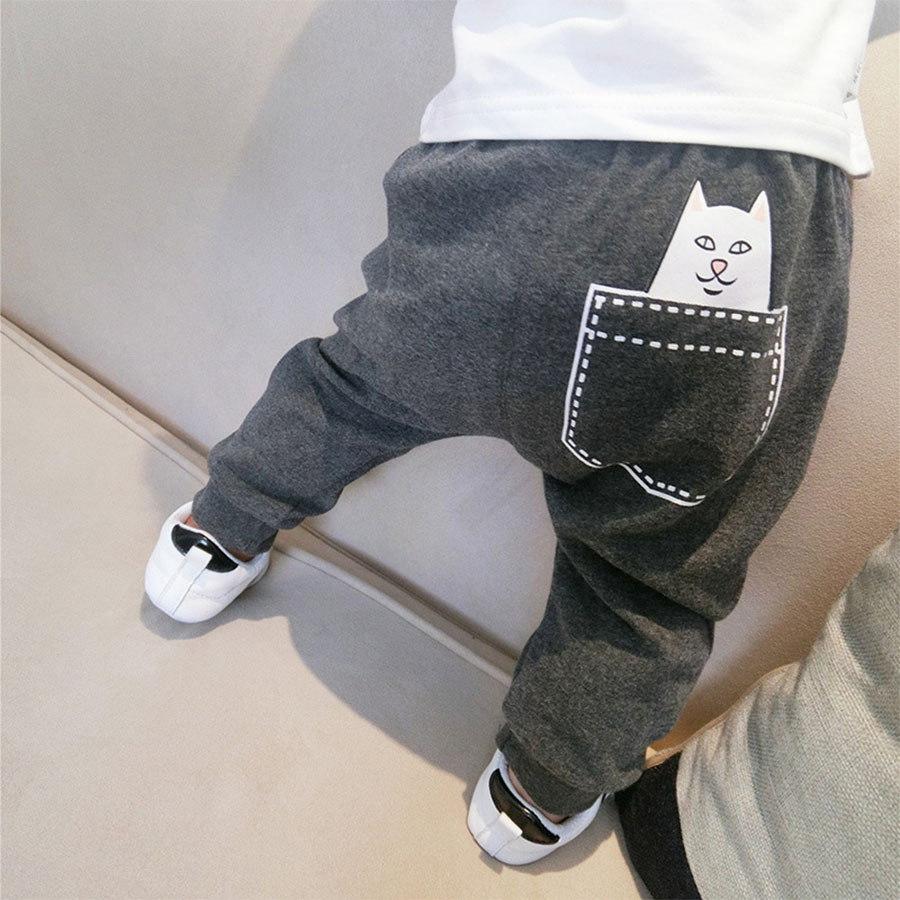 美式厭世貓印花兒童哈倫褲.童裝