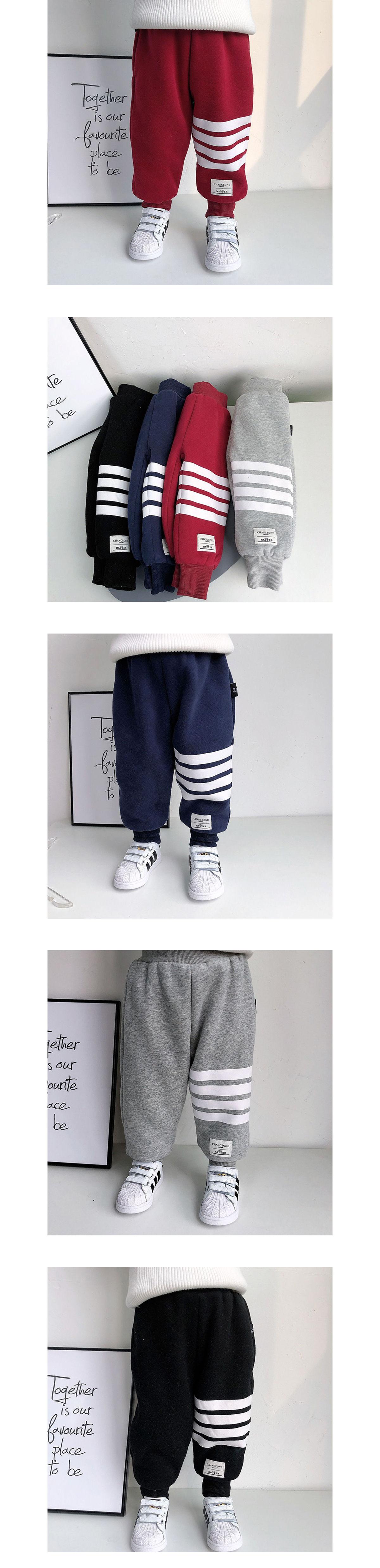 兒童加厚加絨橫條紋束口棉褲.童裝