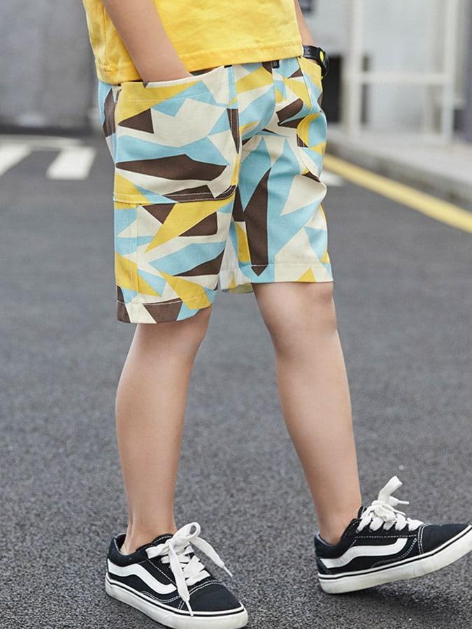 幾何圖案大口袋五分短褲.童裝