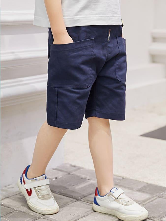 中大童韓版休閒口袋鬆緊素面短褲.童裝