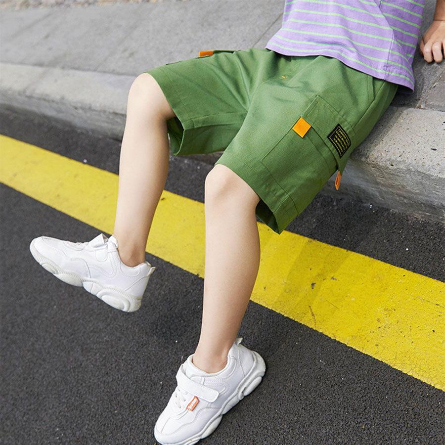 中大童口袋撞色螢光橘鬆緊短褲.童裝,,,Y2020036,中大童口袋撞色螢光橘鬆緊短褲.童裝,