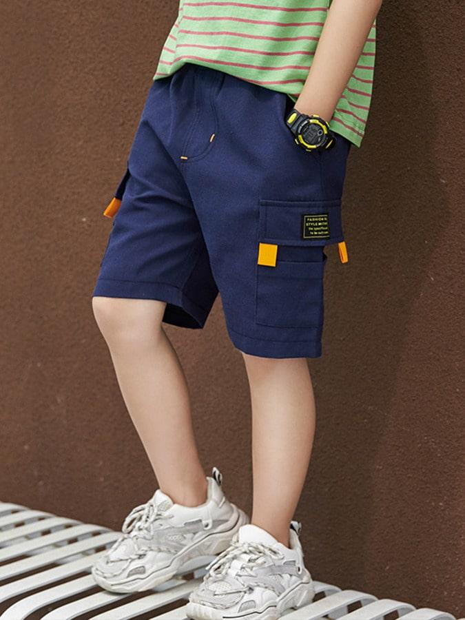 中大童口袋撞色螢光橘鬆緊短褲.童裝