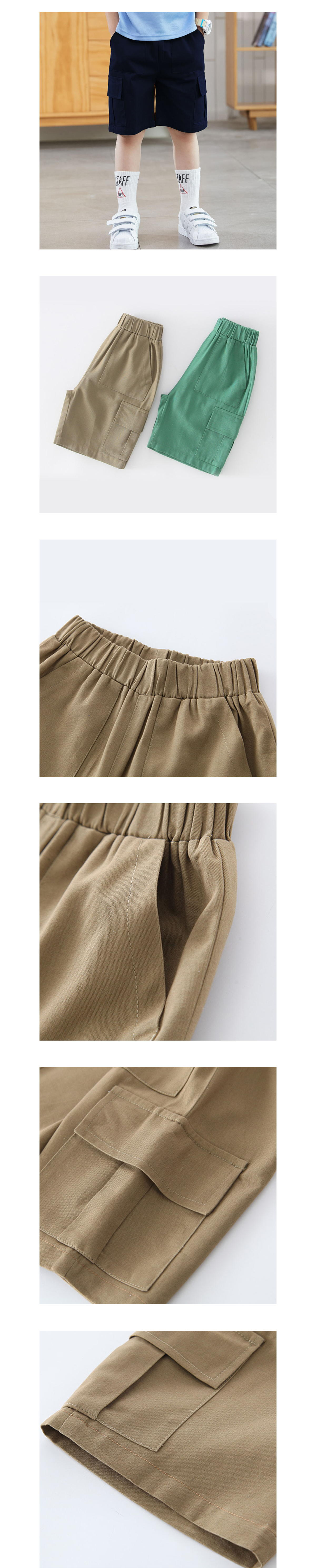 中大童素面寬鬆工裝五分褲.童裝