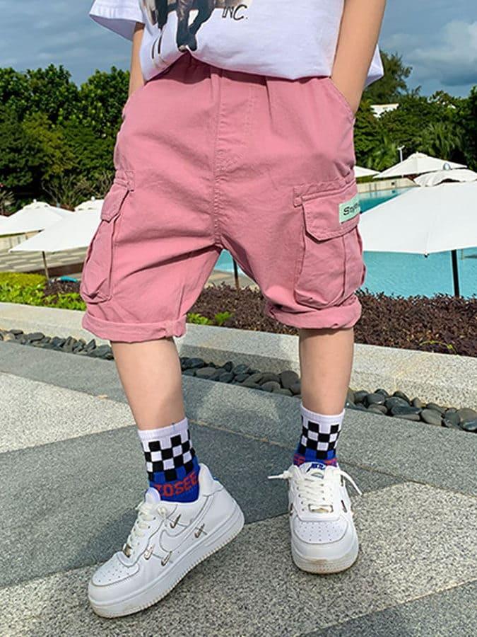 中大童工裝寬鬆五分短褲.童裝