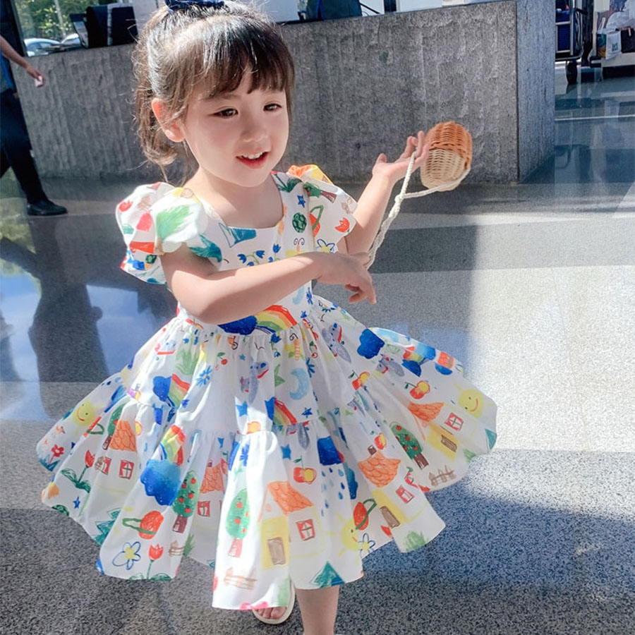 可愛塗鴉平口露背公主連衣裙.童裝,,,Y2040032,可愛塗鴉平口露背公主連衣裙.童裝,
