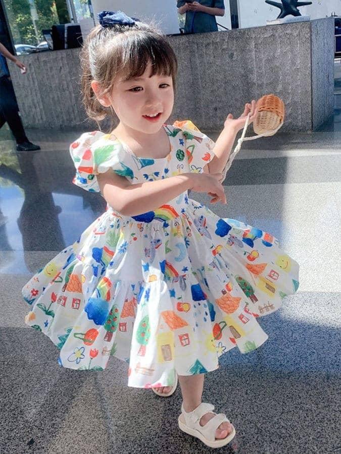 可愛塗鴉平口露背公主連衣裙.童裝