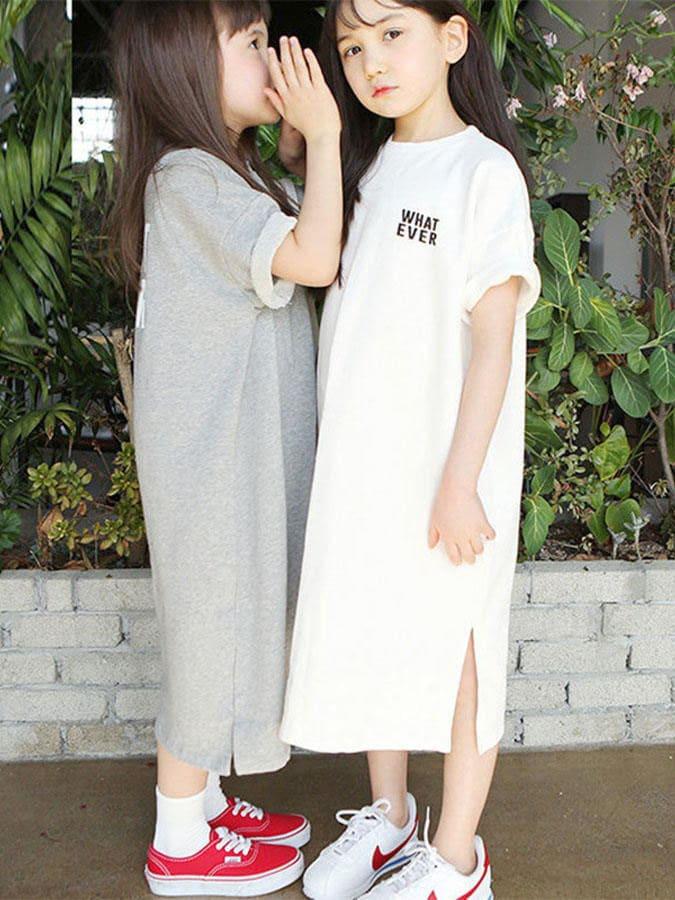親子裝.母女童印花短袖連衣裙.童裝