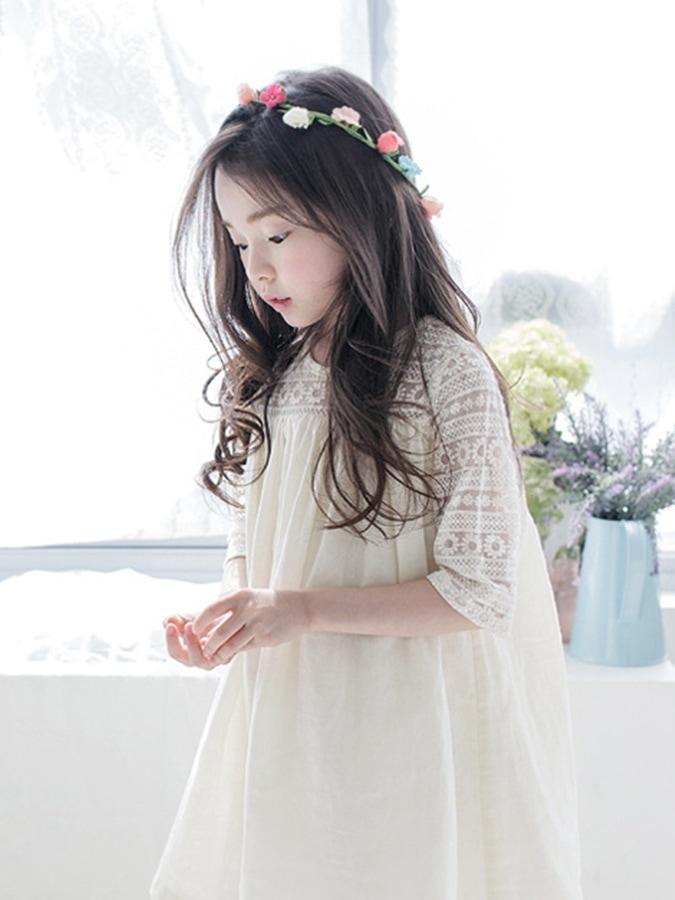 女童蕾絲鉤花拼接褶皺五分袖連衣裙.童裝