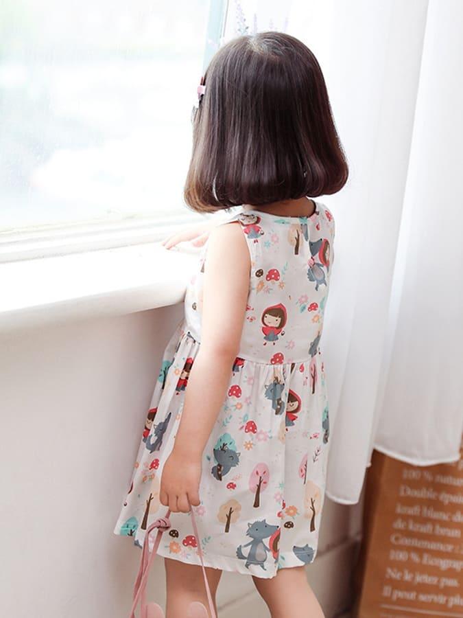 女童無袖滿版印花公主連衣裙.童裝