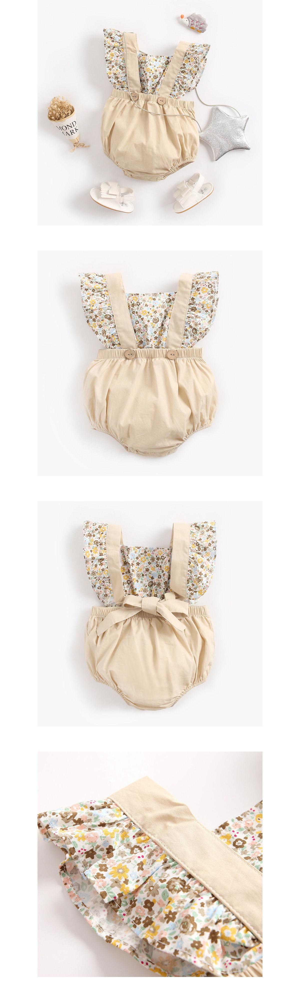 嬰幼兒新生服.碎花拼接寶寶連體包屁衣
