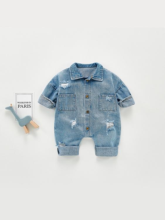 嬰幼兒牛仔長袖連身衣.童裝