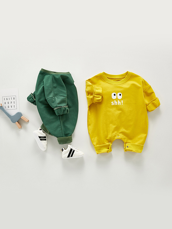 嬰幼兒俏皮眼睛長袖連體包屁衣.童裝