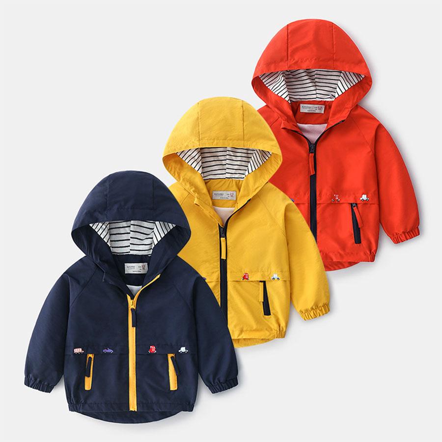 兒童防風條紋連帽外套透氣內裡衝鋒衣.童裝