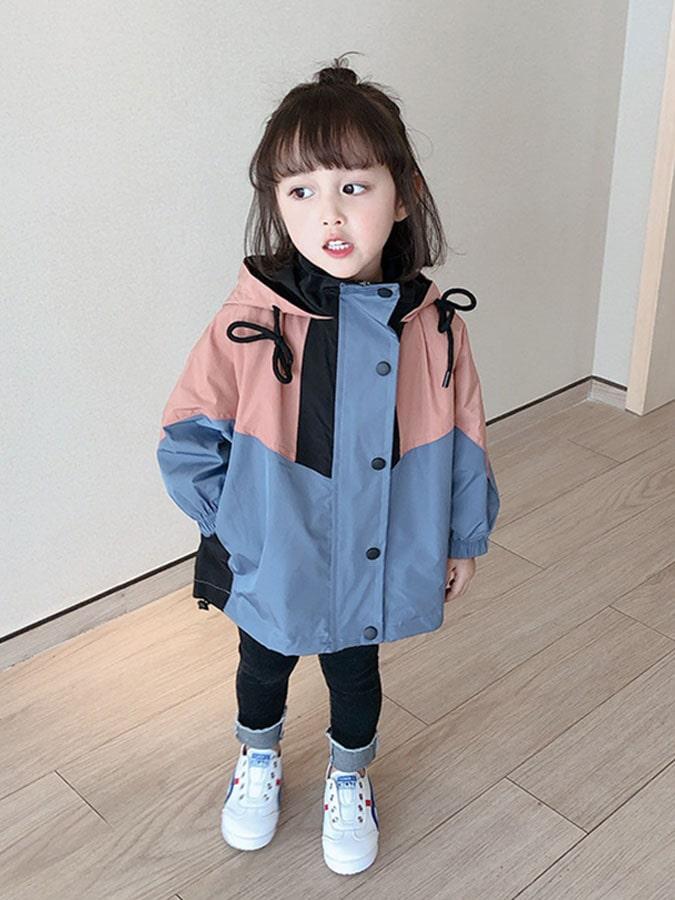 韓版拼接兒童連帽衝鋒外套.童裝
