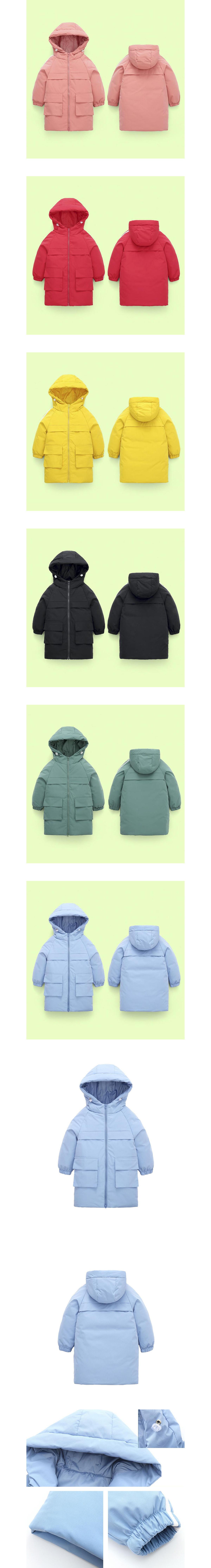 兒童韓系中長款加厚內鋪棉連帽外套