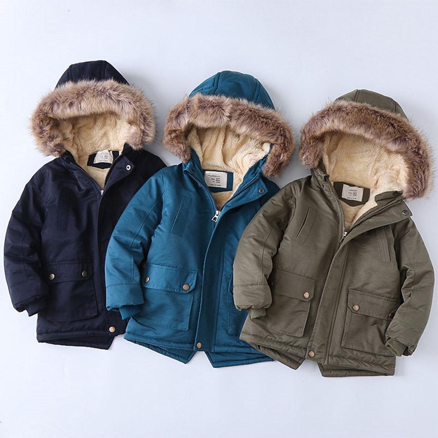 毛領內刷毛袖束口兒童長版連帽外套.童裝