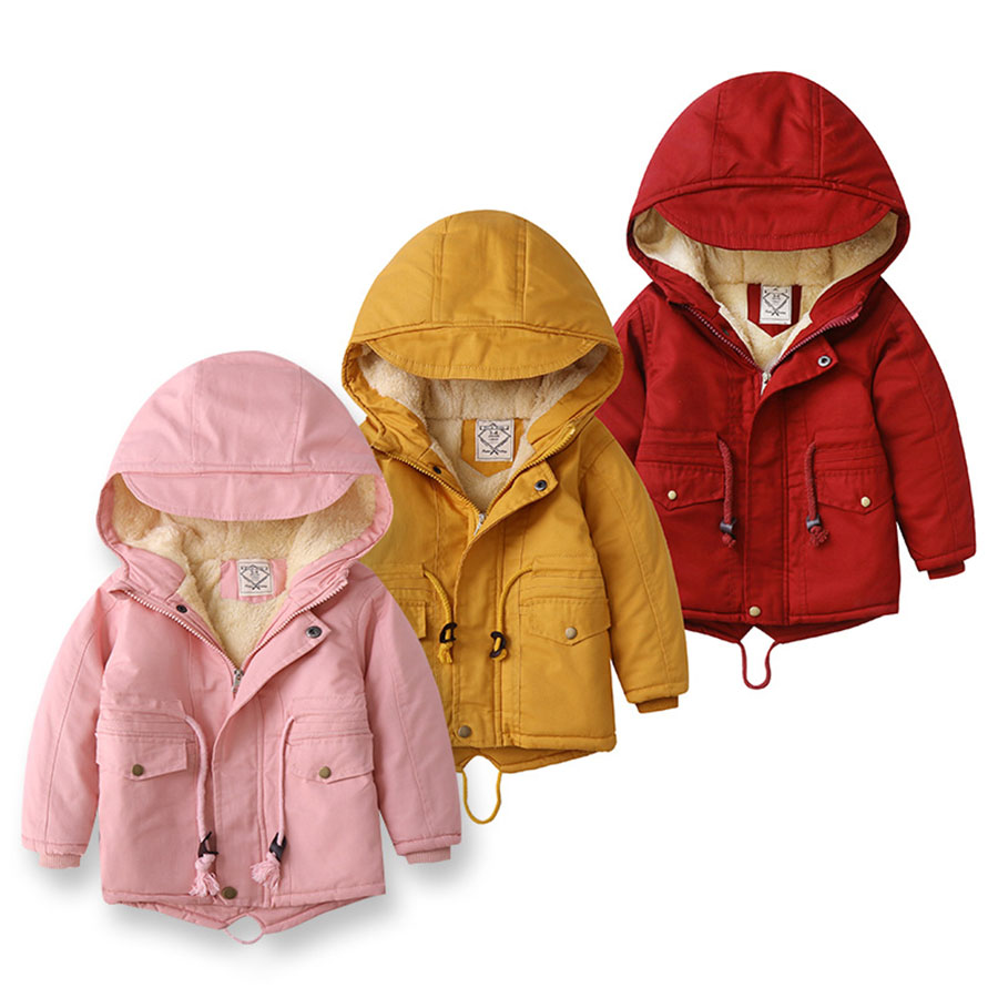 冬季加絨厚款.兒童燕尾款連帽外套.童裝