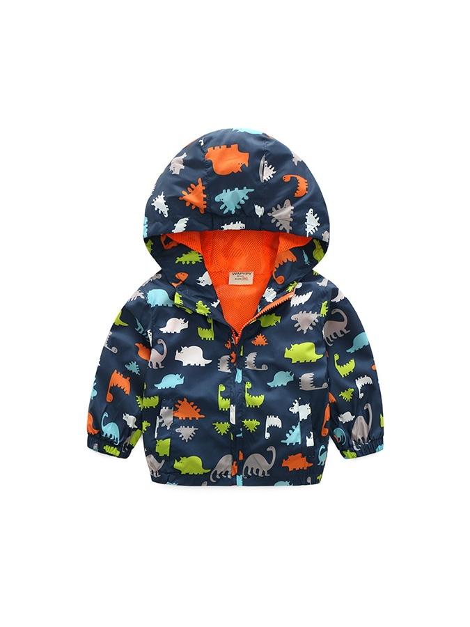 兒童衝鋒衣.滿版恐龍長袖連帽外套.童裝