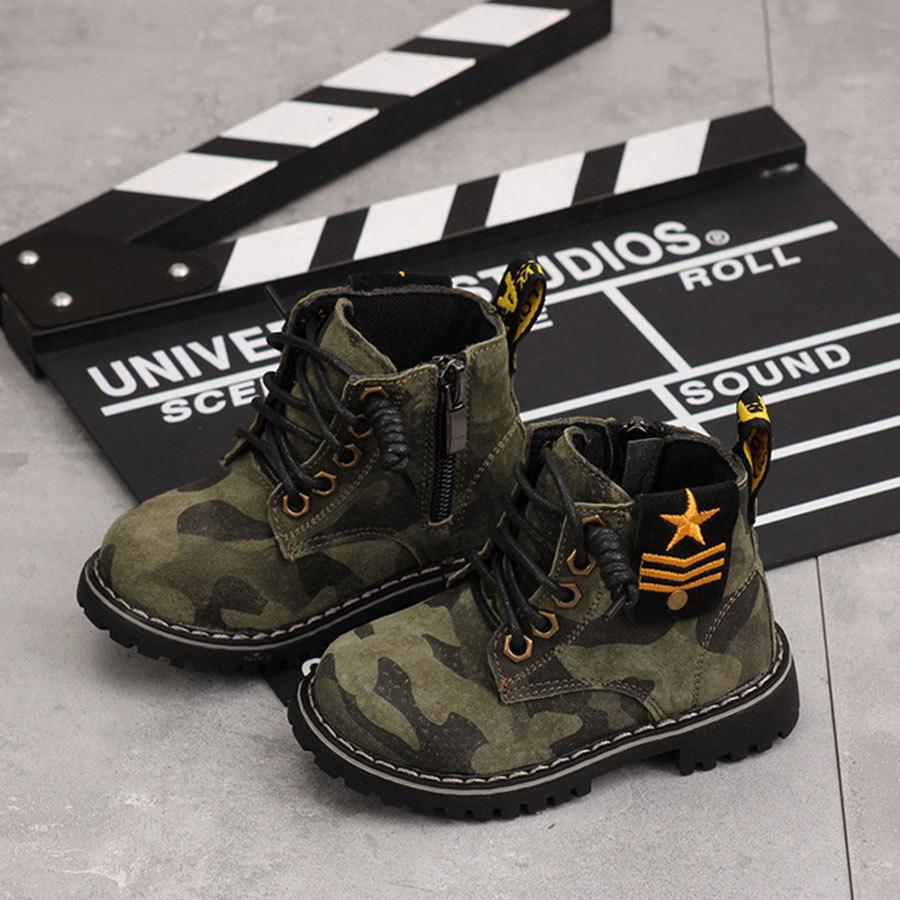 童鞋.軍事寶寶皮革軟底迷彩馬丁靴.童裝