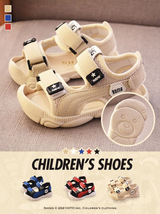 童鞋.包頭防踢.軟底熊熊沙灘涼鞋.童裝