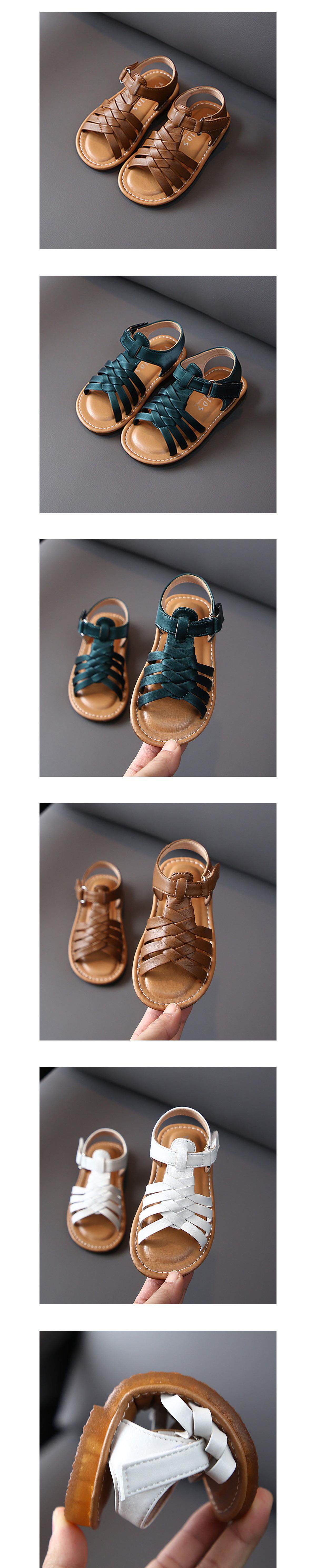 童鞋.韓版編織皮革涼鞋.童裝