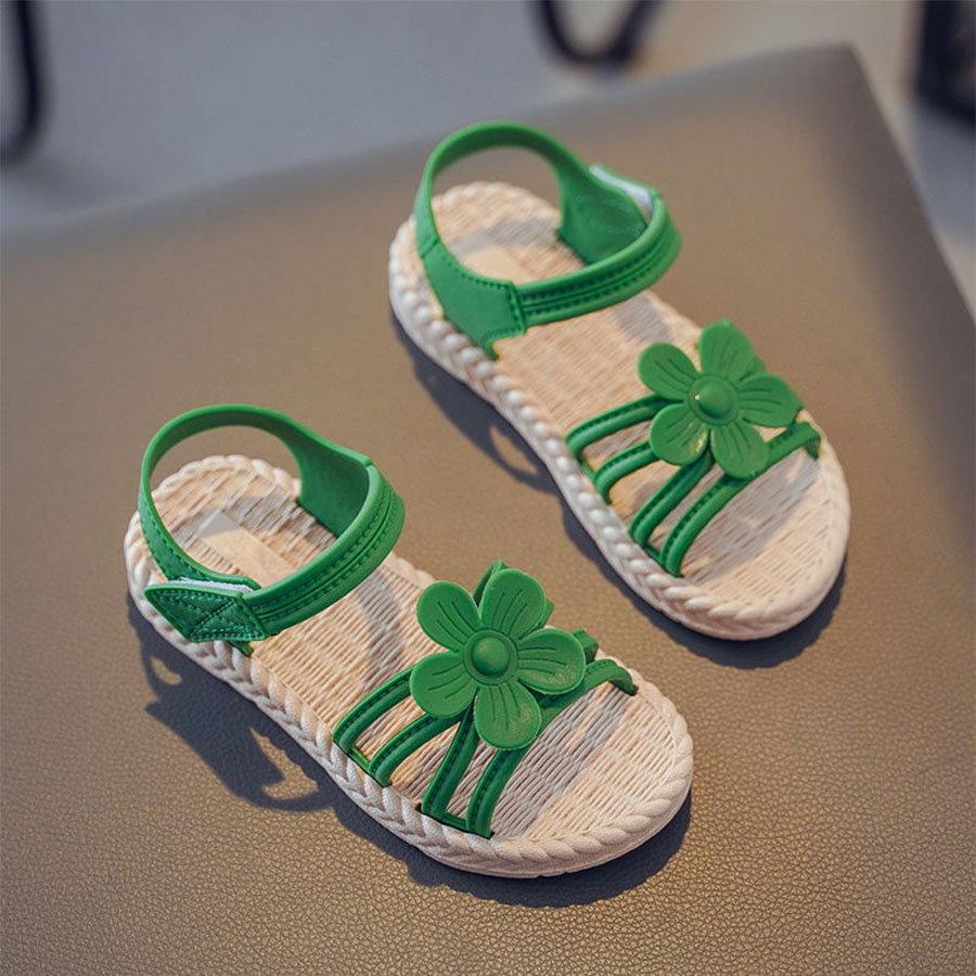 童鞋.花朵細帶魔鬼氈涼鞋.童裝,,,Y4010073,童鞋.花朵細帶魔鬼氈涼鞋.童裝,