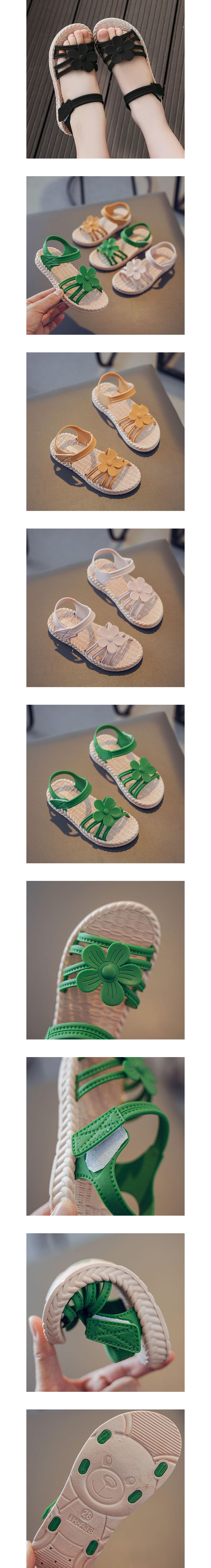 童鞋.花朵細帶魔鬼氈涼鞋.童裝