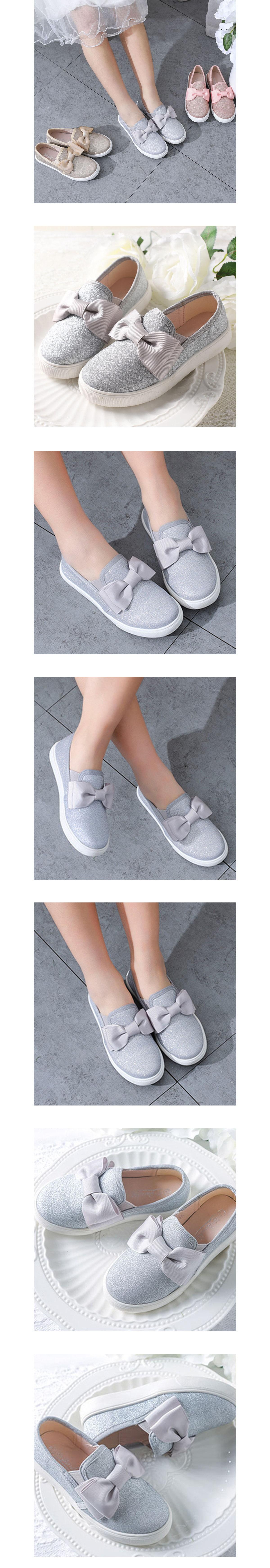 童鞋.蝴蝶結閃粉公主休閒軟底板鞋.童裝