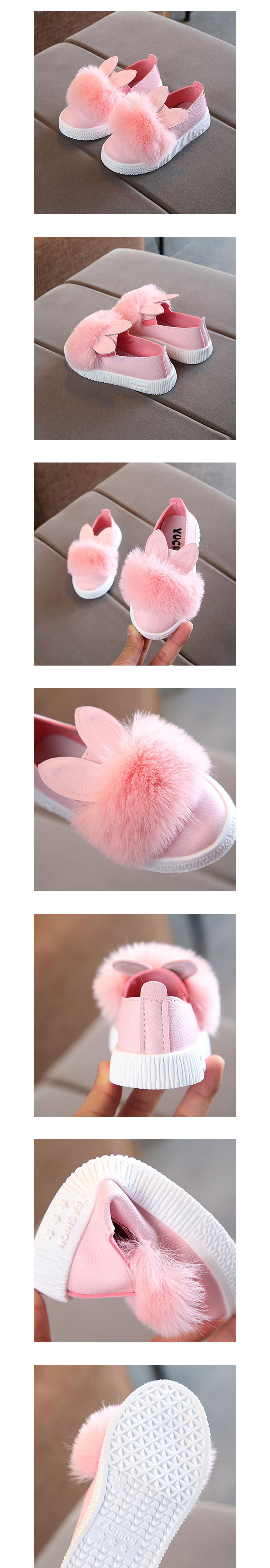 童鞋.韓版女童毛毛兔耳公主平底鞋.童裝
