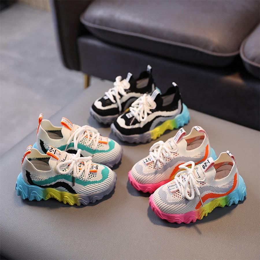 童鞋.飛織彩色透氣布織面運動鞋.童裝