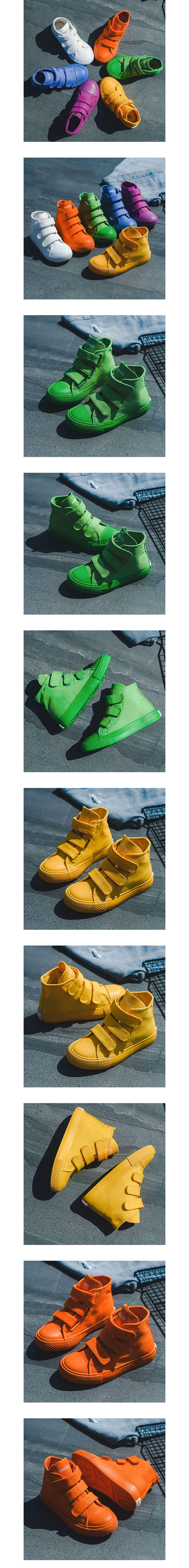童鞋.高筒魔鬼氈糖果色帆布鞋.童裝