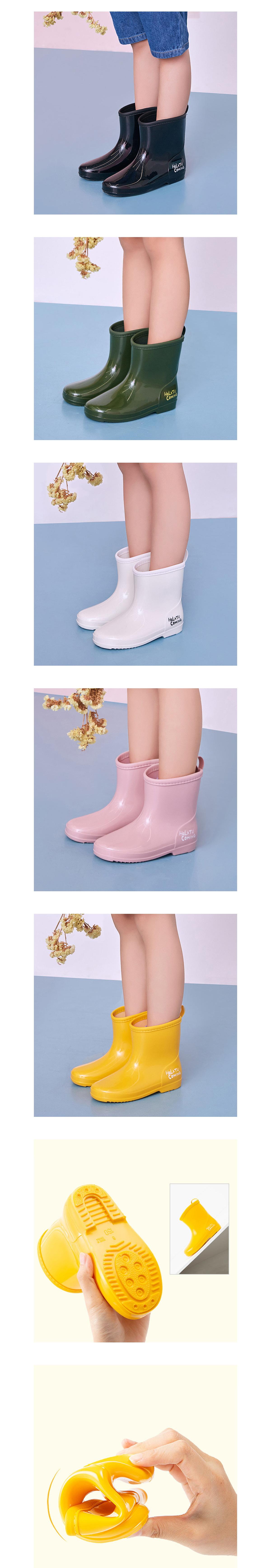 童鞋.防水防滑繽紛亮面中筒兒童雨鞋
