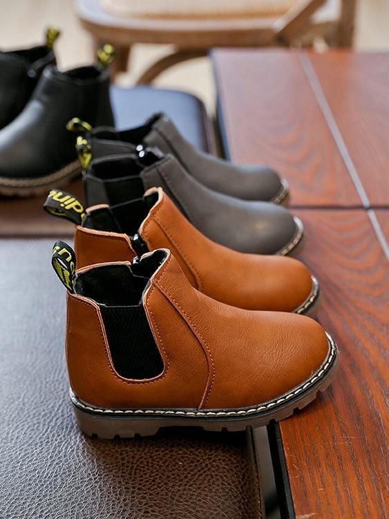 童鞋.英倫中筒拼接馬丁靴.童裝