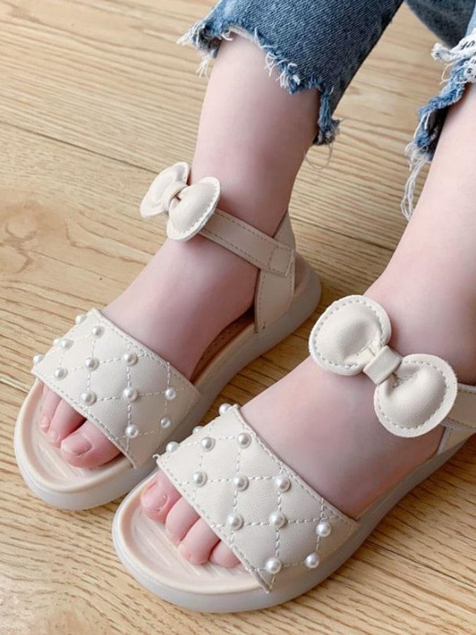 童鞋.女童蝴蝶結類珠軟底涼鞋.童裝,,,Y4040006,童鞋.女童蝴蝶結類珠軟底涼鞋.童裝,