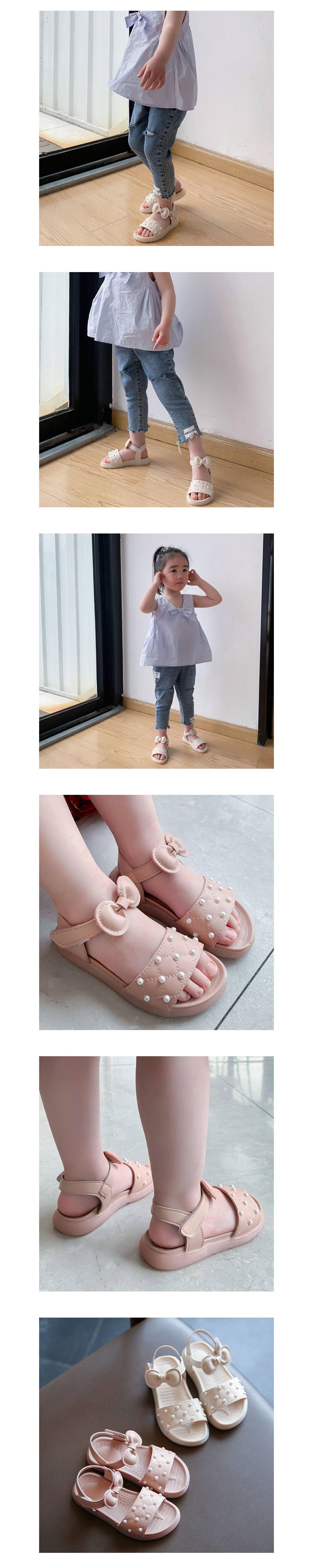 童鞋.女童蝴蝶結類珠軟底涼鞋.童裝