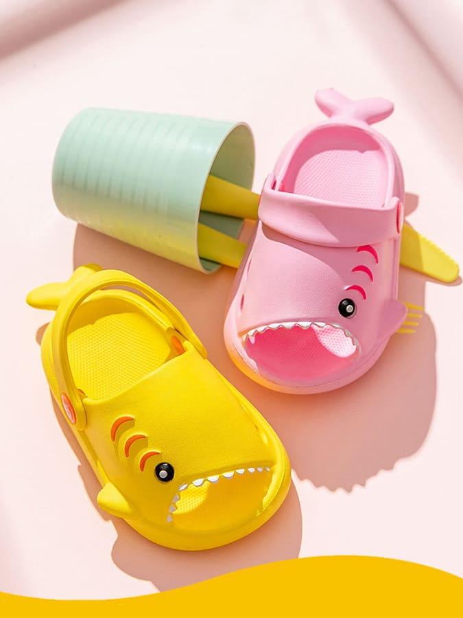 童鞋.鯊魚寶寶後腳跟可調節涼拖鞋.童裝