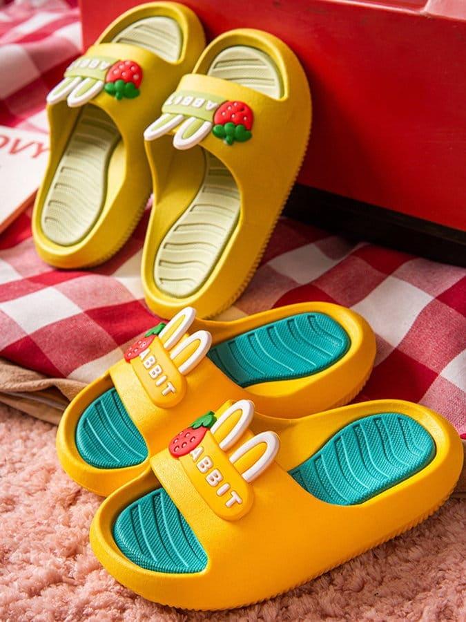童鞋.兔耳朵防滑抗震兒童拖鞋.童裝