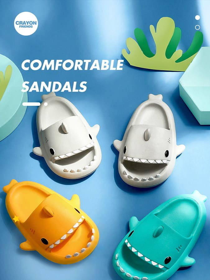 立體鯊魚防滑軟底兒童拖鞋.童裝