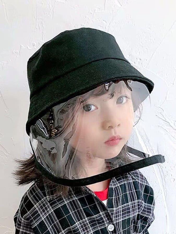 兒童遮陽漁夫帽.可拆卸防疫防護面罩.童裝