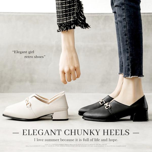 通勤女孩兩穿尖頭低跟皮鞋.2色