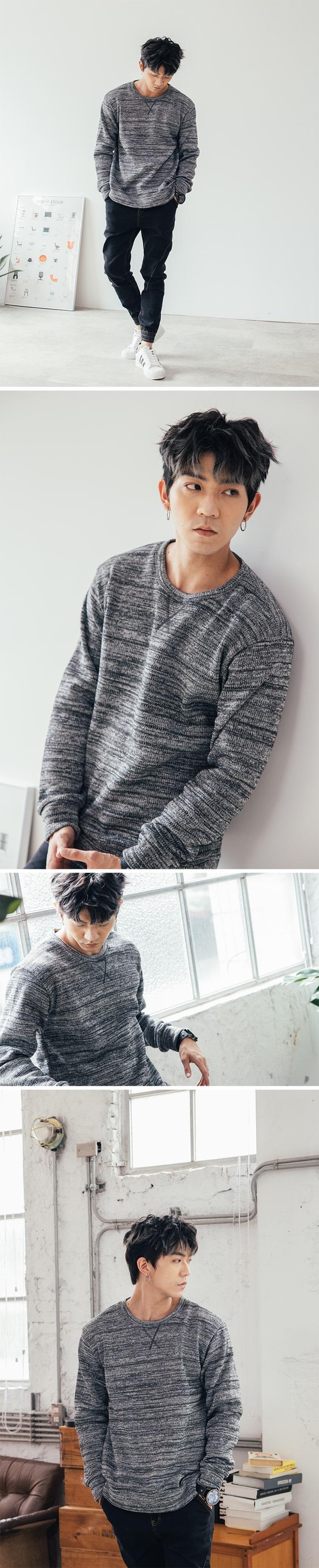 MIT.混色領下X縫線.彈性圓領針織毛衣.有大碼